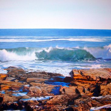 Beavertail State Park Painting, 24″ x 24″, Acrylic on Canvas, 2010, by Artist Charles C. Clear III of Ocean State Art