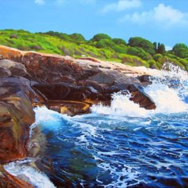 Black Point Rhode Island Seascape Painting, 36″ x 48, Acrylic on Canvas, 2015, by Artist Charles C. Clear III of Ocean State Art
