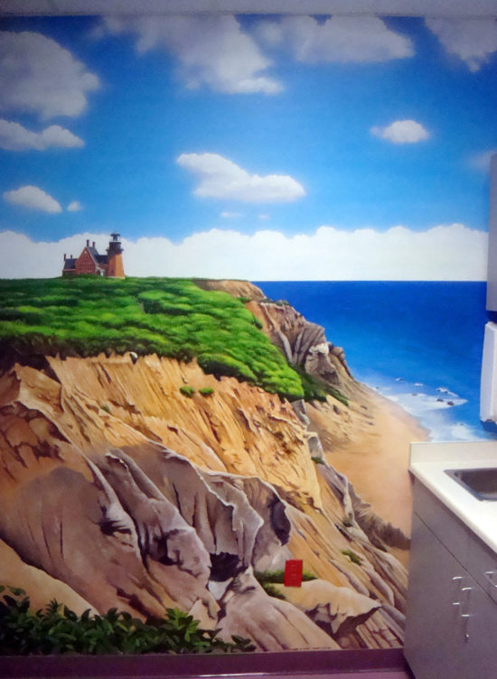 Block Island Mural painted in a treatment room at the Pediatric Heart Center in Providence, Rhode Island by Artists Charles C. Clear III and Bonnie Lee Turner