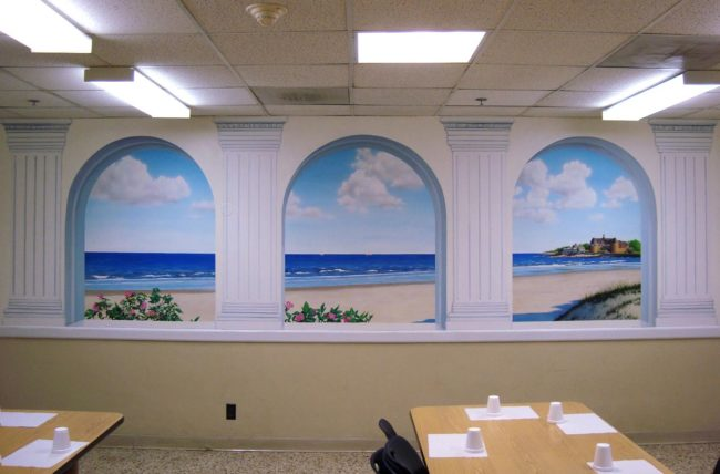 Sand Castle Mural with Arches painted in the cafeteria of Bradley Hospital in East Providence, Rhode Island by Artists Charles C. Clear III and Bonnie Lee Turner