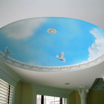 Blue Sky Ceiling Dome Mural painted in the Master Bathroom of a private residence in Lincoln, Rhode Island by Artist Charles C. Clear III