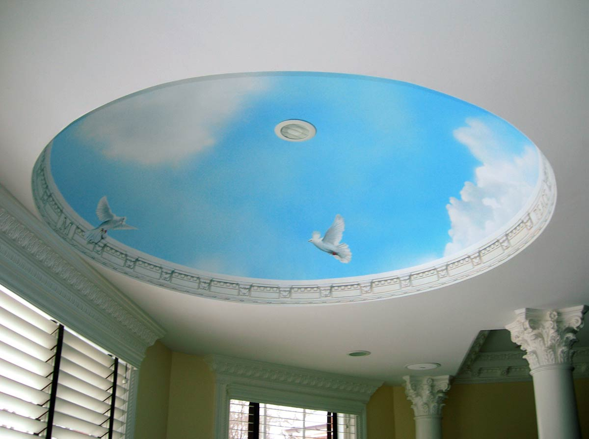 Blue sky ceiling dome mural by painted artist charles c for Bathroom floor mural sky
