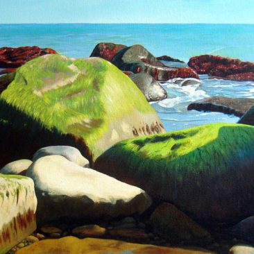 "Emerald Bay Narragansett Painting, 13″ x 18 "", Acrylic on Canvas, 2013, by Artist Charles C. Clear III of Ocean State Art"