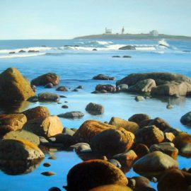 Golden Shore of Rhode Island Seascape Painting, 16″ x 20″, Oil on Canvas, 2014, by Artist Charles C. Clear III of Ocean State Art