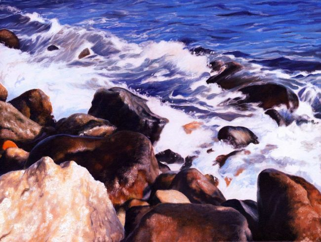 """Ocean Road Narragansett Painting, 12 """" x 16″, Acrylic on Canvas, 2008, by Artist Charles C. Clear III of Ocean State Art"""
