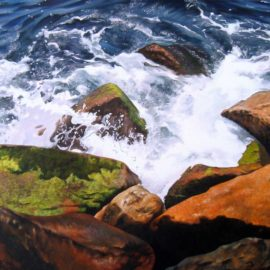 "Ocean Rocks Seascape Painting, 16″ x 20 "", Acrylic on Canvas, 2010, by Artist Charles C. Clear III of Ocean State Art"