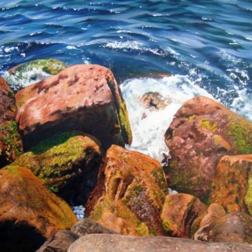 Point Judith Seascape Study, 18″ x 24″, Oil on Canvas, 2011, by Artist Charles C. Clear III of Ocean State Art