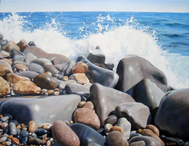"Rocky Shore Seascape Study Painting, 11″ x 14 "", Acrylic on Canvas, 2010, by Artist Charles C. Clear III of Ocean State Art"