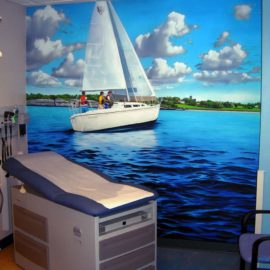 Sailboat Mural Treatment Room of Hospital, 8′ x 8′, 2009, Hasbro Children's Hospital, Providence, RI by Artist Charles C. Clear III of Ocean State Art