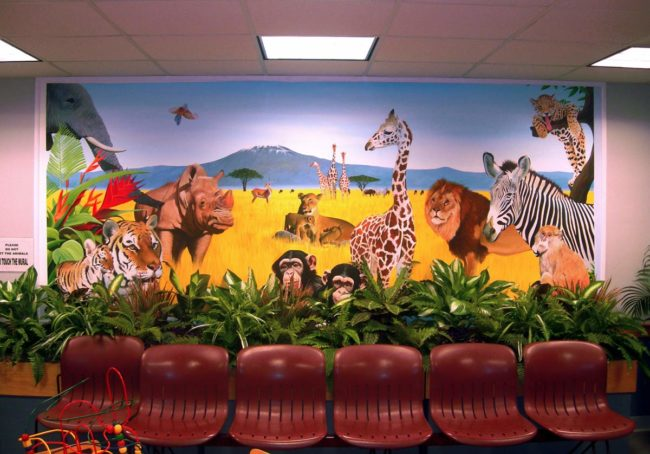 Animal Mural painted in the pediatric waiting room of the South Shore Medical Center in Norwell, Massachusetts by Artists Charles C. Clear III and Bonnie Lee Turner
