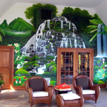 Hawaiian Waterfall Mural, 24′ x 15′, 2005, Private Residence, Sherborn, Massachusetts, by Artists Charles C. Clear III and Bonnie Lee Turner