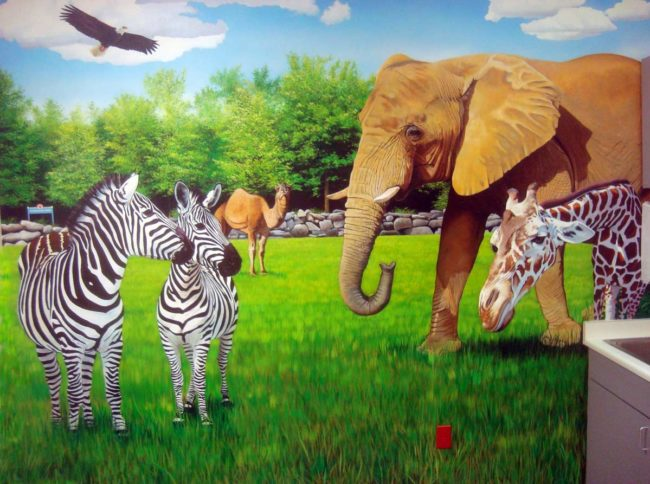 Zoo Animal Mural painted in a treatment room at the Pediatric Heart Center in Providence, Rhode Island by Artists Charles C. Clear III and Bonnie Lee Turner