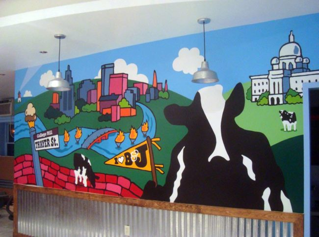 Ben and Jerrys Scoop Shop Mural, 17′ x 6′, 2013, painted in Ben & Jerry's Scoop Shop, Thayer Street, Providence, RI, by Artists Charles C. Clear III and Bonnie Turner