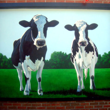 Bliss Dairy Cow Mural, 7' x 5, 2013, Bliss Restaurant and Dairy, Attleboro, Massachusetts, by Artists Charles C. Clear III and Bonnie Lee Turner