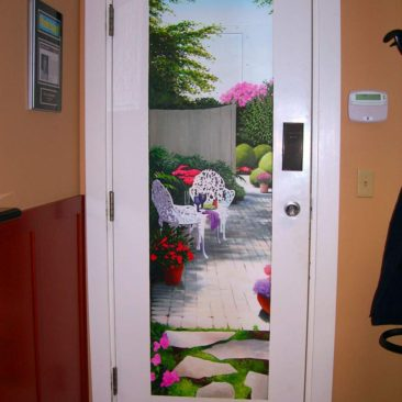 Door Mural painted in waiting room of a cosmetic dentist's office in Providence, Rhode Island, by Artist Charles C. Clear III of Ocean State Art