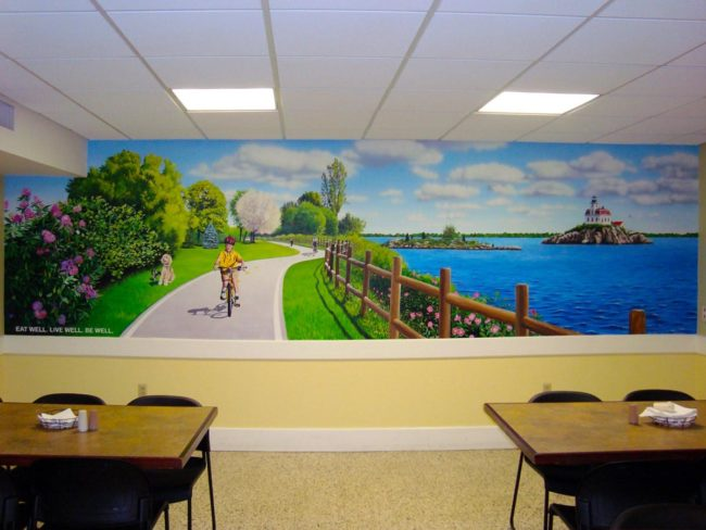 East Bay Bike Path Mural, 19′ x 5′, 2010, painted in the cafeteria of Bradley Hospital in East Providence, Rhode Island, by Artists Charles C. Clear III and Bonnie Lee Turner