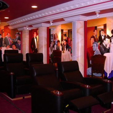 Movie Star Mural painted in home theater of private residence in Lincoln, Rhode Island by Artists Charles C. Clear III and Bonnie Lee Turner