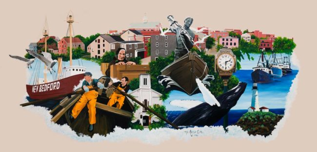 New Bedford Montage Mural, 15′ x 6′, V.A. Primary Care Center, New Bedford, MA, 1996, by Ocean State Art Artist Charles C. Clear III and Bonnie Lee Turner