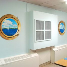 Hospital Porthole Murals painted in the Cafeteria of Bradley Hospital in East Providence, Rhode Island, by Artists Charles C. Clear III and Bonnie Lee Turner