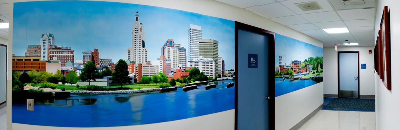 Providence Skyline Mural at Rhode Island Hospital by Charles
