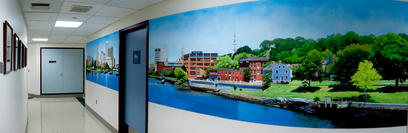 Providence Skyline Mural painted for the Rhode Island Hospital Diagnostic Imaging Center by Artist Charles C. Clear III of Ocean State Art