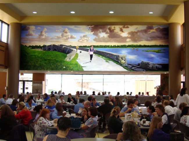 Rhode Island Hospital Cafeteria Mural, 38' x 12', 2010, Providence, RI, by Artists Charles C. Clear III and Bonnie Lee Turner
