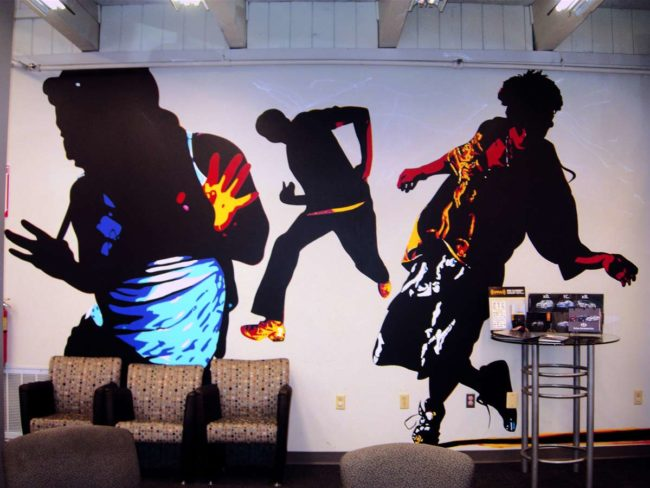 Toyota Scion Showroom Mural painted in Attleboro, Massachusetts Toyota Dealership by Artists Charles C. Clear III and Bonnie Lee Turner