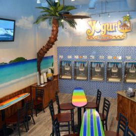 Yogurt Beach Caribbean Mural, 2015, Yogurt Beach Yogurt Shop in Hopkinton, Massachusetts, by Artist Charles C. Clear III of Ocean State Art