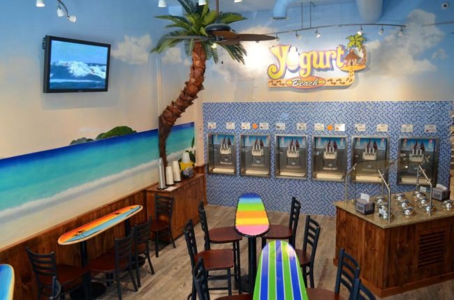 Yogurt Beach Caribbean Mural, 2015, Yogurt Beach Yogurt Shop in Hopkinton, Massachusetts, by Artist Charles C. Clear III of Ocean State Art