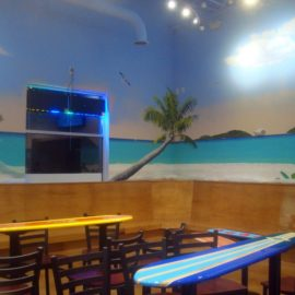Yogurt Beach Tropical Mural painted at a Yogurt Beach Yogurt Shop in Plainville, Massachusetts by Charles C. Clear III and Bonnie Lee Turner