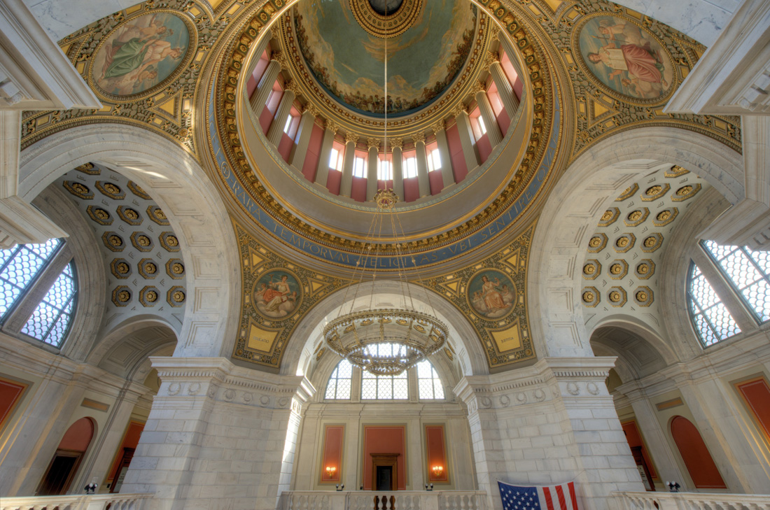 The Rhode Island State House Rotunda with Mural inside Dome