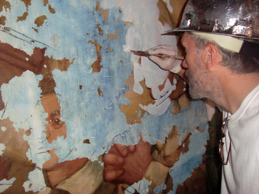 Restoration Work on the Mural inside the dome of the Rhode Island State House