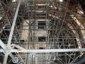 The Scaffolding inside the dome of the Rhode Island State House