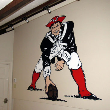 New England Patriots Logo Mural, 81″ x 81″, 2016, Private Residence, Dedham, Massachusetts by Ocean State Art Artist Charles C. Clear III and Bonnie Lee Turner