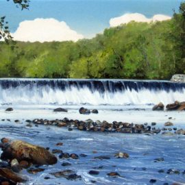 "Albion Dam Plein Air Painting, 12″ x 16"", Oil on Canvas, Painted August 30, 2017, Albion Dam, Blackstone River Bikeway, Lincoln, Rhode Island by Artist Charles C. Clear III"