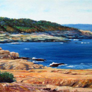 "Beavertail Plein Air Painting, 12″ x 16"", Oil on Canvas, 2015, Beavertail State Park, Jamestown, Rhode Island by Artist Charles C. Clear III"