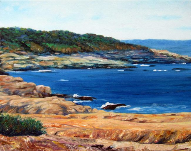 "Beavertail Plein Air Painting, 12″ x 16"", Oil on Canvas, 2015, Beavertail State Park, Jamestown, Rhode Island by Artist Charles C. Clear III"