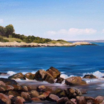 """Black Point Plein Air Painting, 9″ x 12"""", Oil on Canvas Board, Painted August 3, 2017 at Black Point, Narragansett, RI by Charles C. Clear III"""