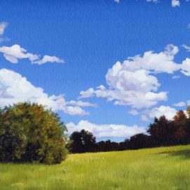 "Chase Farm Hill Plein Air Painting, 12″ x 16"", Oil on Canvas, Chase Farm, Lincoln, Rhode Island by Artist Charles C. Clear III"