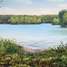 Lincoln Woods Plein Air Painting painted at Lincoln Woods State Park in Lincoln, Rhode Island on August 27, 2017 by Artist Charles C. Clear III