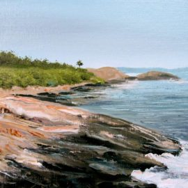 "Newton Avenue Plein Air Painting, 9″ x 12"", Oil on Canvas Board, Painted August 4, 2017 off Newton Avenue, Narragansett, RI by Artist Charles C. Clear III"