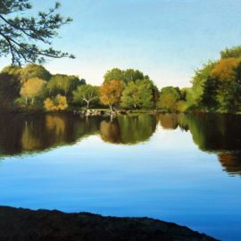 "Chase Farm Pond Painting, 12″ x 16"", Oil on Canvas, Painted 2016, Chase Farm, Lincoln, Rhode Island, by Artist Charles C. Clear III"