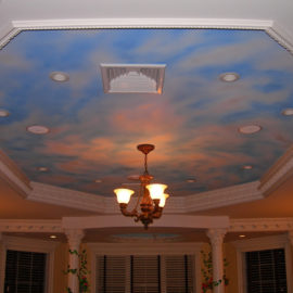 Blue Sky Ceiling Mural, 18' x 9', 2007, Private Residence, Lincoln, Rhode Island, by Artist Charles C. Clear III