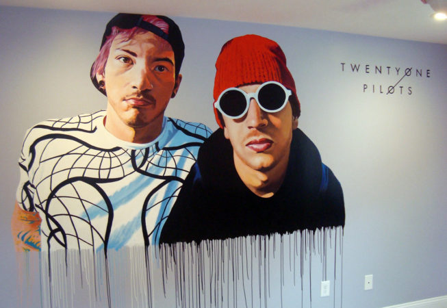 Twenty One Pilots Bedroom Mural, 7′ x 5′, 2017, by Artist Charles C. Clear III