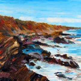 Beavertail Bluffs Plein Air Painting by Rhode Island Artist Charles C. Clear III