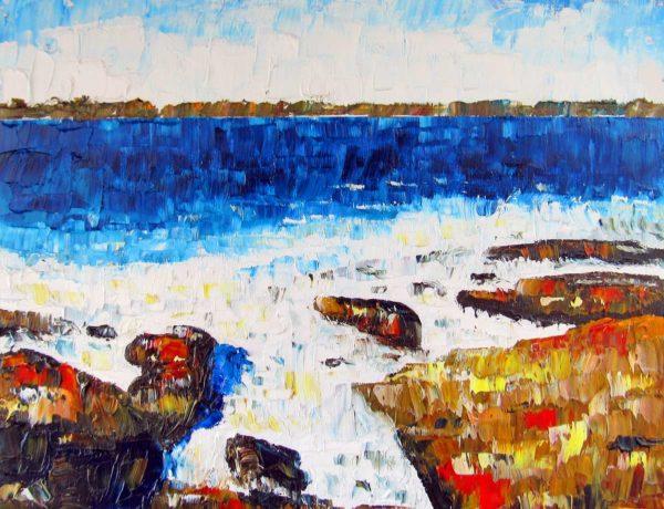 Beavertail Surf Plein Air Painting by Rhode Island Artist Charles C. Clear III