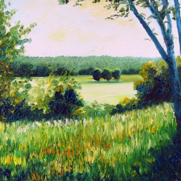Chase Farm Field Plein Air Painting by Rhode Island Artist Charles C. Clear III