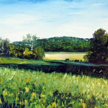 Chase Farm Hill Plein Air Painting by Rhode Island Artist Charles C. Clear III