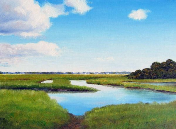 Matunuck Marsh Plein Air Painting by Rhode Island Artist Charles C. Clear III