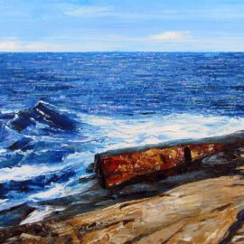 Newton Point Ledge Plein Air Painting by Rhode Island Artist Charles C. Clear III